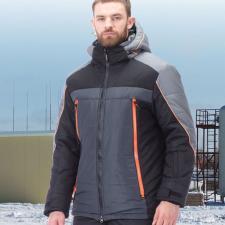 Куртка зимняя «Палмер» черная с серым